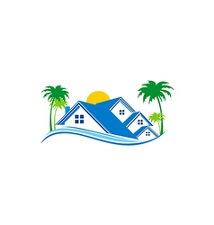 villa cottage house nature logo vector image vector image