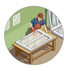 Worker make window vector image vector image