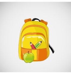 Bright school backpack with pencils and an apple vector image