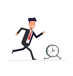Businessman or manager runs the clock Man does vector image vector image