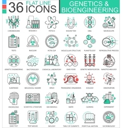Genetics and biochemistry flat line outline vector image vector image