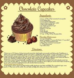 recipe chocolate cupcake vector image vector image