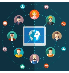 Social network flat with avatars earth vector image vector image
