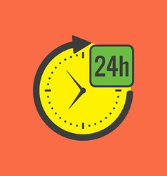 24 hours service concept Flat design Isolated on vector image