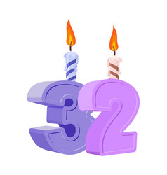 32 years birthday number with festive candle for vector
