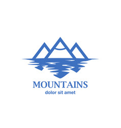 abstract mountains with reflection in lake vector image