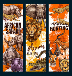 African safari hunt animals banners vector