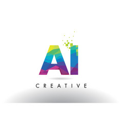 Ai a i colorful letter origami triangles design vector