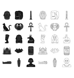Ancient egypt blackoutline icons in set vector