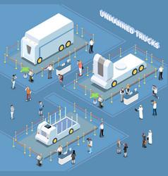autonomous trucks exhibition composition vector image