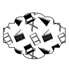 badge with film movie chair megaphone and vector image