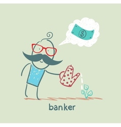 banker plant watering and thinks about the dollar vector image