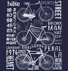 bike poster tee graphic design vector image