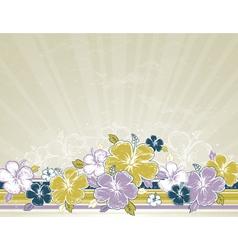 Bouquet of hibiscus on beige background vector