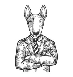 bull terrier businessman engraving vector image