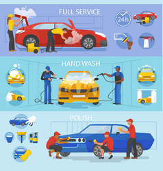 Car wash car-washing service with people vector