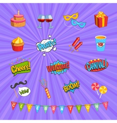 Carnival Comic Elements Set vector