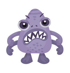 Cartoon monster with many arms expressing anger vector