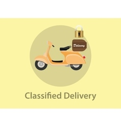 Classified delivery with motor bike vector