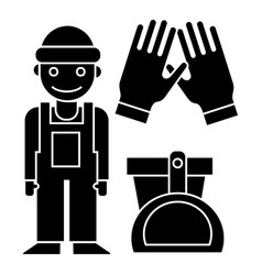 Cleaning service - cleaning man gloves scoop vector
