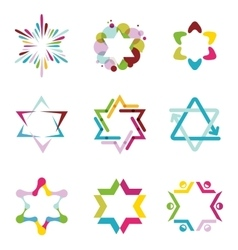 collection of colorful abstract star icons vector image