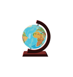 color image globe icon globe on a wooden vector image