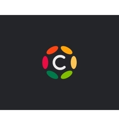 Color letter C logo icon design Hub frame vector