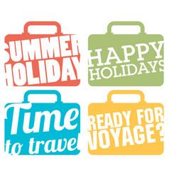 color suitcase logo travel logo set vector image