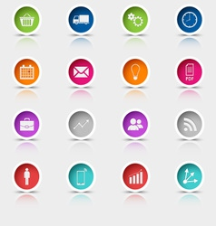 Colored set round web buttons template vector
