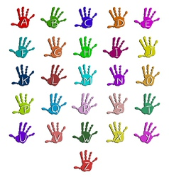 Colorful hand alphabet vector image