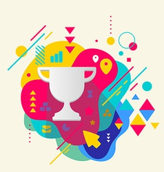 Cup winner on abstract colorful spotted background vector image