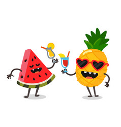 Cute fruit watermelon and pineapple vector