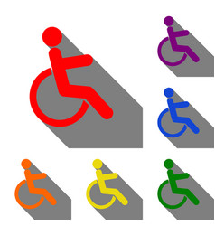 Disabled sign set of red orange vector