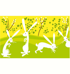 easter happy rabbits vector image
