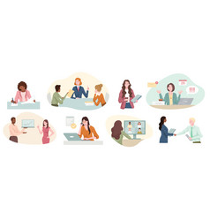 eight different scenes showing a successful vector image