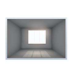 Example of empty dark room with window vector