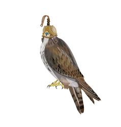 Falcon wearing hood vector
