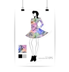 Fashion women in sketch style Greeting card with vector image
