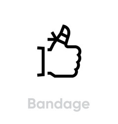 finger bandage icon editable line vector image