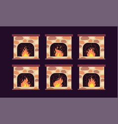 Fireplace animation home retro fireplaces vector