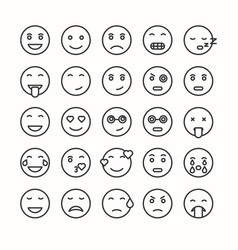 flat and line emoticon face icons set vector image
