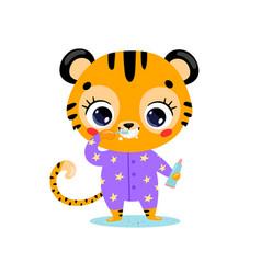 flat doodle cute cartoon tiger brushing teeth vector image