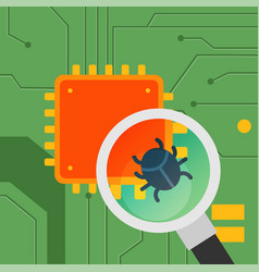 flat motherboard with cpu and computerbug vector image