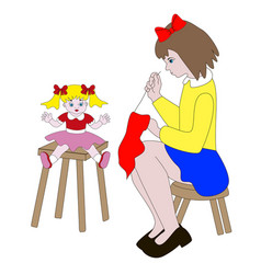 Girl sewing clothes for dolls vector