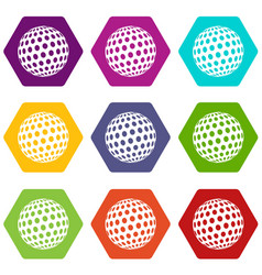golf ball icons set 9 vector image