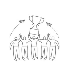 group people with trophy cup one line drawing vector image
