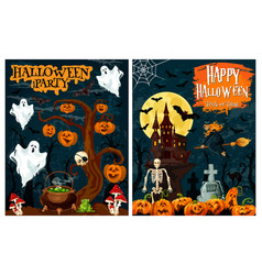Halloween party banner of ghost house and pumpkin vector