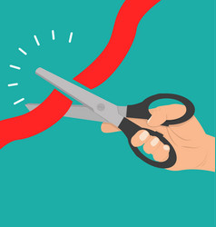 hand holding scissors cutting red ribbon concept vector image