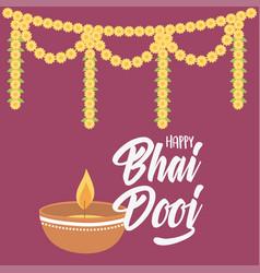 happy bhai dooj diya lamp light and flowers vector image