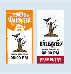 Happy halloween invitation design with tree and vector